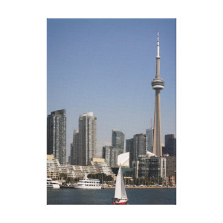 Toronto Harbour Skyline with Red Boat Canvas Print