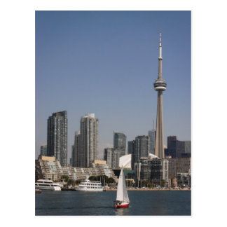 Toronto Harbour Skyline with Red Boat Postcard