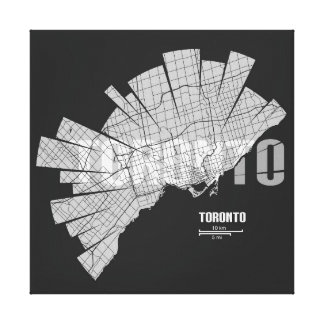 Toronto Map Wrapped Canvas