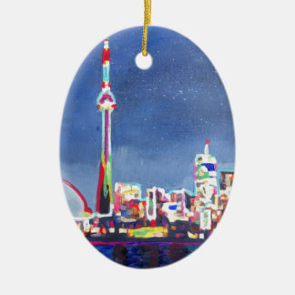 Toronto Neon Shimmering Skyline with CN Tower Ceramic Ornament