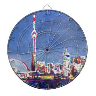 Toronto Neon Shimmering Skyline with CN Tower Dart Boards