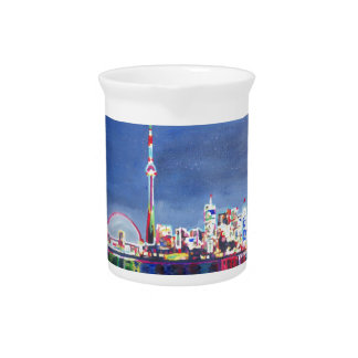 Toronto Neon Shimmering Skyline with CN Tower Beverage Pitcher