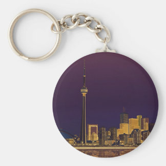 Toronto night skyline keychain
