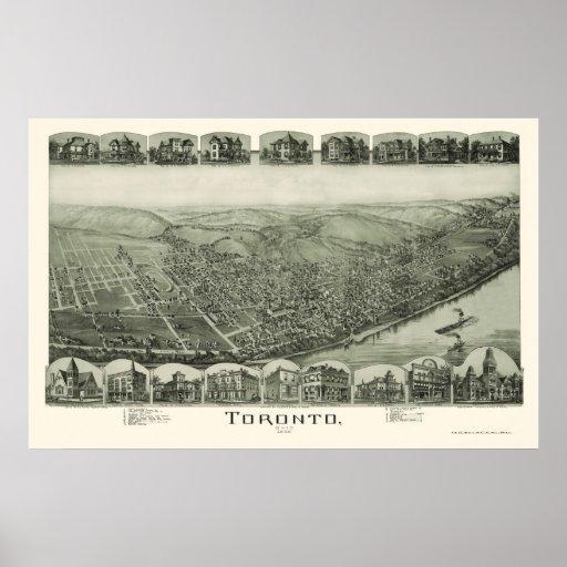 Toronto, OH Panoramic Map - 1889 Poster