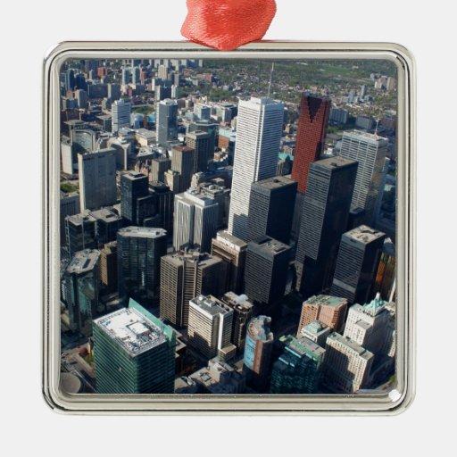 Toronto, Ontario, Canada, building skyline Square Metal Christmas Ornament