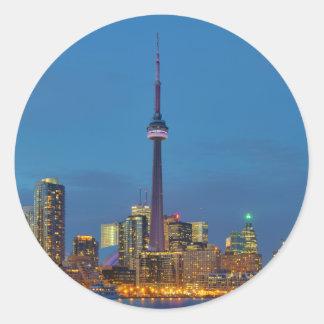 Toronto Ontario Canada Skyline At Night Classic Round Sticker