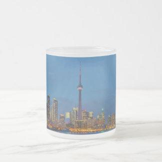 Toronto Ontario Canada Skyline At Night Frosted Glass Coffee Mug