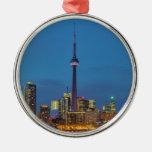 Toronto Ontario Canada Skyline At Night Round Metal Christmas Ornament