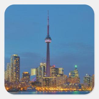 Toronto Ontario Canada Skyline At Night Square Sticker