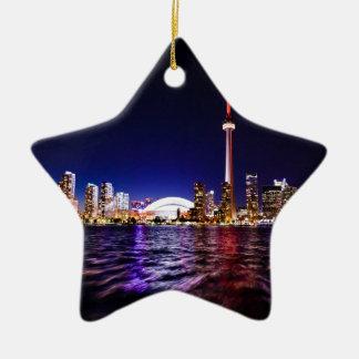 Toronto Skyline at Night Ceramic Ornament