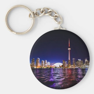 Toronto Skyline at Night Keychain