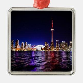 Toronto Skyline at Night Metal Ornament