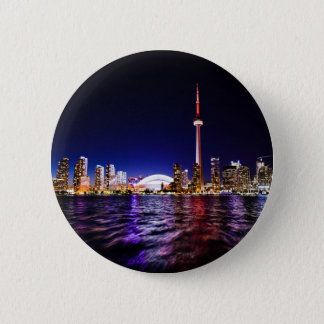 Toronto Skyline at Night Pinback Button