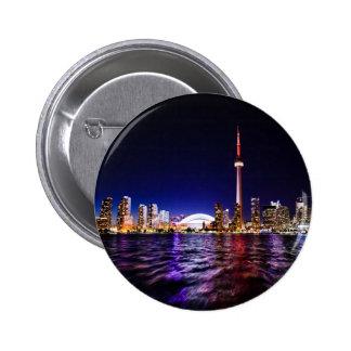 Toronto Skyline at Night Pinback Button