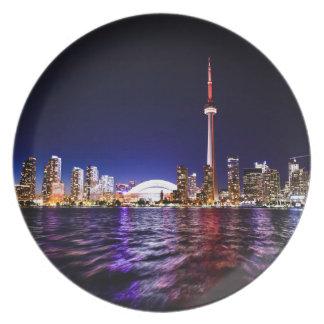 Toronto Skyline at Night Plate