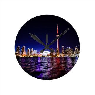 Toronto Skyline at Night Round Clock