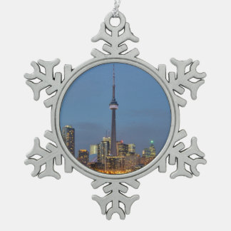 Toronto Skyline at night Snowflake Pewter Christmas Ornament