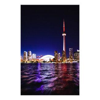 Toronto Skyline at Night Stationery