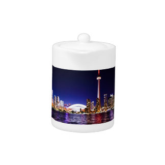 Toronto Skyline at Night Teapot