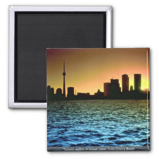 Toronto skyline at sunset, taken from Cherry Beach 2 Inch Square Magnet