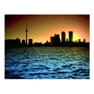 Toronto skyline at sunset, taken from Cherry Beach Post Card