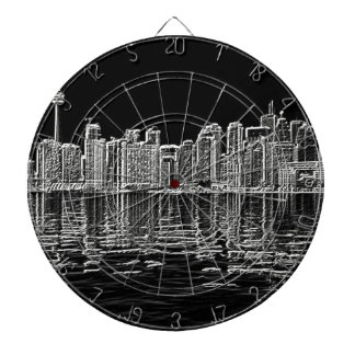 Toronto Skyline in Black and White Dart Boards