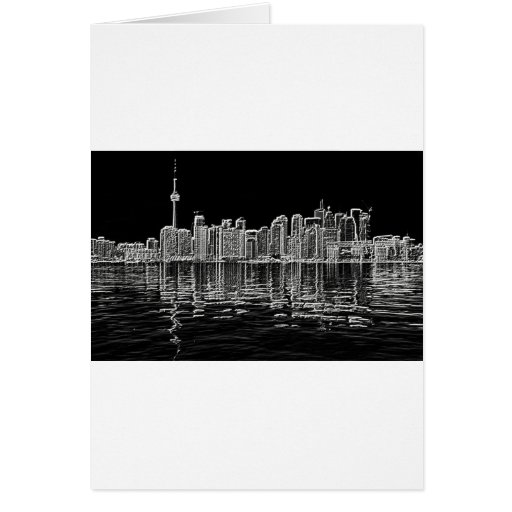 Toronto Skyline in Black and White Greeting Card