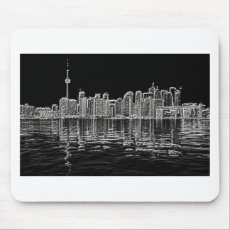 Toronto Skyline in Black and White Mouse Pad