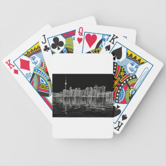 Toronto Skyline in Black and White Bicycle Poker Deck