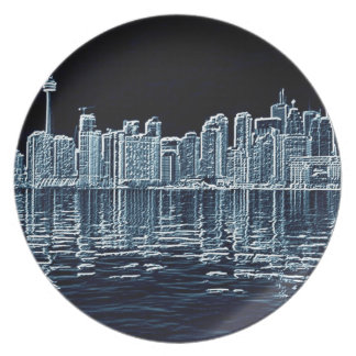 Toronto Skyline in Blue Party Plates
