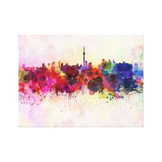 Toronto skyline in watercolor background canvas print
