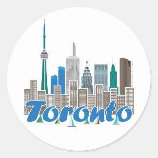 Toronto Skyline Round Stickers