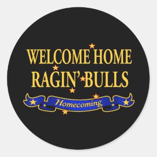 Toros caseros agradables de Ragin Pegatina Redonda