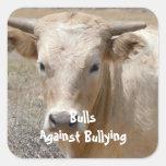 Toros contra - blanco - el Parenting del vaquero Calcomanías Cuadradases