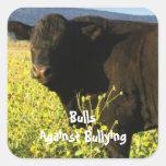 Toros contra - campo - el Parenting del vaquero Calcomania Cuadradas Personalizadas