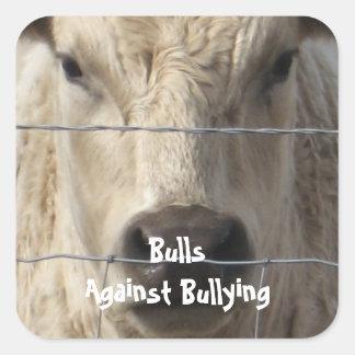 Toros contra - cerca - el Parenting del vaquero Calcomanía Cuadradas