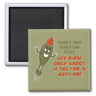 Torpy the Torpedo - Retro 2 Inch Square Magnet