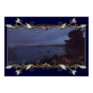 Torquay Harbour at night Poster