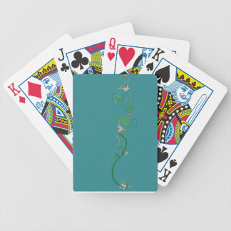 Torquoise floral garland playing cards