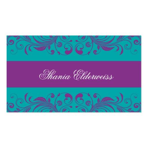 Torquoise Purple Damask Business Card