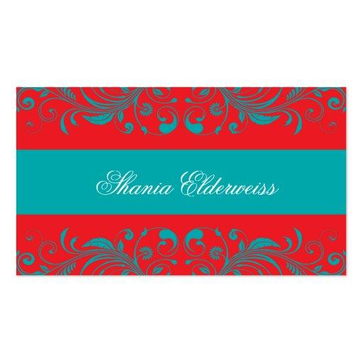 Torquoise & Vermillion Damask Business Card