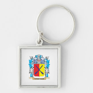 Torrance Coat of Arms - Family Crest Silver-Colored Square Keychain