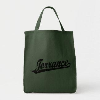 Torrance script logo in black canvas bags