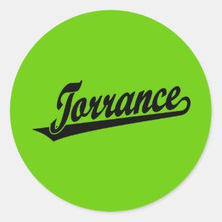 Torrance script logo in black classic round sticker