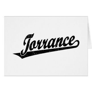 Torrance script logo in black distressed greeting card
