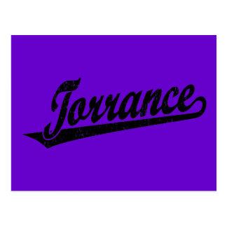 Torrance script logo in black distressed postcard