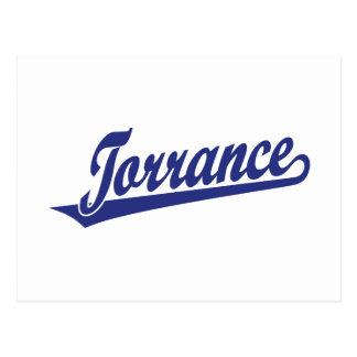 Torrance script logo in blue postcard