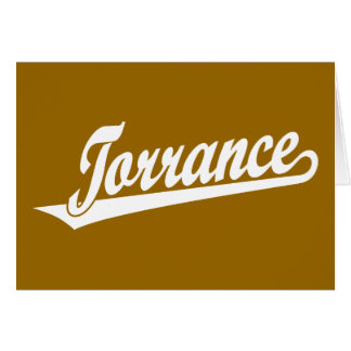 Torrance script logo in white greeting card