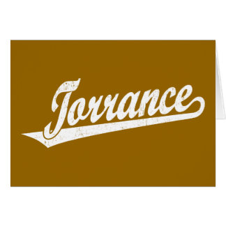 Torrance script logo in white distressed greeting card