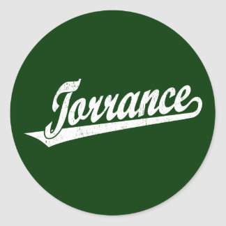 Torrance script logo in white distressed classic round sticker